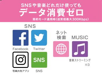 SNSや音楽どれだけ使ってもデータ消費ゼロ 節約モード適用時(送受信最大300Kbps)